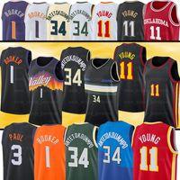 34 Giannis 1 Devin Young 3 Chris Booker Paul Basketbol Formaları Antetokounmpo 11 Trae Dikişli Jersey
