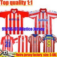 1995 96 97 Atletico Madrid Soccer Jerseys Simeone Caminero 04 05 Retro Jersey # 9 F.Torres Gabi Home Vintage Classic Football Hemd Männer Uniform Größe S-2XL