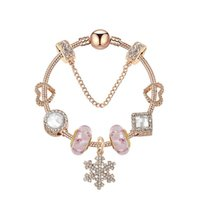 Rose Gold Fit Pandoras Hecho a mano Copo de nieve Colgante Pulsera de cristal Charm Beads Jewelry 925 Plata Cristal para mujeres Regalos Pulseras