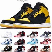 1 1s jumpman الرجال wonen أحذية كرة السلة أعلى 3 الأسود الثلاثي الأبيض الحب جديد مع أحذية رياضية صفراء
