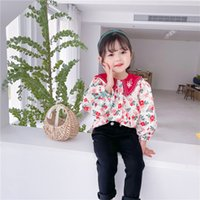 Children Chemise imprimée Florale Filles Brodé Revers Puff Stupe Shirts Enfants Princesse Tops A6192