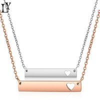 Yeni Aşk Kalp Bar Kolye Moda Altın Katı Boş Bar Kolye Kolye Paslanmaz Çelik Kolye Gravür Takı DIY 467 Q2