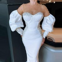 Party Dresses Major Beads Pearls Mermaid Prom Sexy Illusioon Sheer Necklinie Puffy Long Sleeves Evening Dress Pageant Gowns