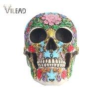 Vilead Creative 1 : 1 다채로운 해골 장식품 할로윈 파티 인형 홈 장식 의료 모델 룸 인테리어 동상 선물