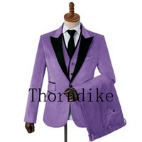 One Button Slim Fit Men Suits Light Purple Velvet Prom Stage Wedding Tuxedos 2021 Fall 3 Piece Male Set Suit Jacket Vest Pant Men's & Blazer