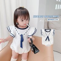 Rompers 2021 Summer Girls Baby Navy Style Flying Sleeve Cotton Bodysuits Toddler Infant Fashion Jumpsuits Borns Kids Outfits