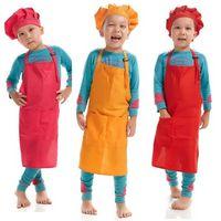 Imprimível Personalizar o logotipo Crianças Chef Aventais Conjunto de Cinturas de Cozinha 12 Cores Crianças Aventais Com Chef Chapéus Para Pintura Cozinhar Cozimento 496