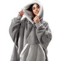 Blankets ZUCZUG Blanket Wearable With Sleeves Comfortable Hoodie Sweatshirt Adult Fleece Oversized Coat