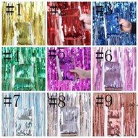 Yeni1 * 2 M Metalik Folyo Fringe Pırıltılı Backdrop Düğün Duvar Fotoğraf Booth Backdrop Tinsel Glitter Perde Altın Parti Dekorasyon EWF6125
