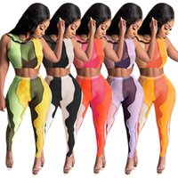 Summer Women's 2 Pantalones de dos piezas Trajes de chándals Set Hilado Neto Irregular Empalme Moda ombligo ombligo Cultivo Top sin mangas Tshirt + Pantalones Sexy Casual Traje