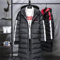 Wwkk 2020 mens lungo cappotto giacca cappotto di lusso marchio di lusso inverno solido nero parka uomini plus size 4xl spessa fitta calda calda vestibilità maschile