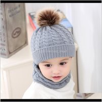 Ups 5 Colors Ins Baby Kids Boys Girls Poms Beanies With Neckerchief Scraf 2Pieces Set Knitted Winter Children Scraves For W19Al Hats Rtdzo