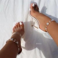 Sandals Summer Women Rhinestone Chain Designer PVC Transparent High Heel Ankle Crystal Womens Party Wedding White Shoes
