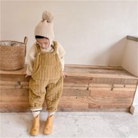 Jumpsuits Winter Unisex Kids Solid Color Cotton-padded Corduroy Overalls Boys And Girls All-match Thicken Warm Quilted Suspenders Pants