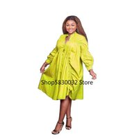 Ethnic Clothing African Dresses For Women 2021 Summer Midi Dress Clothes Dashiki Long Lantern Sleeve Knee Length Robe Africaine Femme