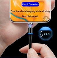 3 i 1 magnetiska laddare kablar 2a nylon LED-lampor Micro USB-datum typ C laddning för mobiltelefon