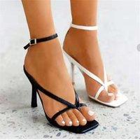 Sandals Summer Women Narrow Band Vintage Square Toe High Heels Buckle Strap Heel Designer Shoes