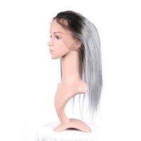 Бразильские девственницы волосы темные корневые ombre # 1b серые прямые 3 пакета с предварительно выбором 360 полного кружевной полосы лобное закрытие