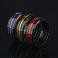 Black Inlay Stripe Ring Band Finger Red Blue Stainless Steel Rings Wedding Bands for Women Men Fashion Jewelry Will and Sandy