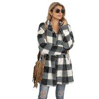 Women's Lana Blende Cappotto Peluche Donne Autunno / Inverno 2021 Stile Plaid A Mid-Lunghezza Casual Casual Giacca multicolore a maniche lunghe M240