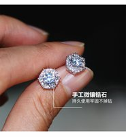 2019 Mode Bijoux Superbes 925 Sterling Sterling Argent rond Blanc Topazz CZ Diamond Gemstones Parti Femmes Mariage Mariage Stud Boucle d'oreille