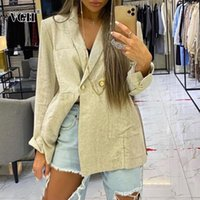 Women's Suits & Blazers VGH Casual Apricot Blazer For Women Notched Long Sleeve Straight Minimalist Korean Solid Females 2021 Spring Fashion