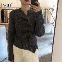 Camisolas femininas vgh outono camisola de inverno feminino cardigan o pescoço manga comprida malha moda coreana vintage roupas