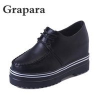 Dress Shoes Spring Student Casual Female High Heels Thick Sole Women Woman Zapatos Mujer Leather Lace Up Ladies Grapara