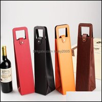 Gift Wrap Event Festive Party Supplies Home & Gardenportable Pu Leather Bags Red Wine Bottle Packaging Case Gifts Storage Boxes With Handle