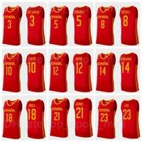 2021 Tokyo Olympics Espanha Basquete Jersey 9 Ricky Rubio 13 Marc Gasol 4 Pau 21 Alex Abrinos 10 Victor Claver 14 Willy Hernangomez 20 Alberto Abalde Homem Mulher Juventude