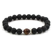 Lava Stone Beads Bracelets Natural Black Essential Oil Diffuser Elastic Bracelet Volcanic Rock Beaded Hand Strings Yoga Chakra 85 L2