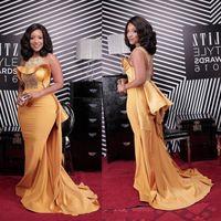 African Mermaid Prom Dresses Gold Bling Crystal Elegant Sleeveless Sweep Train Evening Celebrity Gowns Dress robe de soirée mariage
