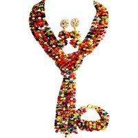 Pendientes Collar Unique Multicolor Africano Boda Africano Joyas de cristal Conjuntos de bridal 10C-WJ-04