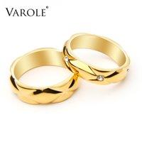 VAROLE Minimalist Lattice Pattern Couple Rings For Women   Men Crystal Wedding Ring Fashion Jewelry Holiday Bague