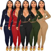 Women Designers Clothes Body Letters Long Sleeve lapel Zipper Jacket Pants Embroidery Two Pieces Outfits Sports Suits A809