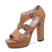 Sandalen Smallhut Sommer Frauen High Heeled Weibliche Weibliche sexy Sandale Damen Schnalle Stil Peep Toe Black Brown Platform Schuhe M126