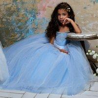 Long Princess Cinderella Flower Girl Dresses Off-the-shoulder Floor Length Ball Gown Blue Kids Pageant Gowns Newest Design Custom Made Dress