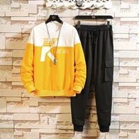 Tuta sportiva da uomo Sport ingrassamento da uomo Plus Size Moda coreana Cool casual maglione pantaloni da due pezzi davanti