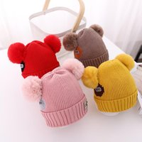 Beanie Skull Caps KENSHELLEY Children's Woolen Hats Autumn And Winter Pompom Knit Hat Baby Thick Children Labeling Double Ball Warm Hood