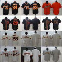 Mens 28 Posey Baseball Jerseys 24 Willie Mays 25 Barry Bonds 빈 스티치 FlexBase Cool Base Team 화이트 블랙 베이지