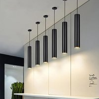 Pendant Lamps Kitchen Bar Counter LED Hanging Lights Lndoor Decorations Black Cylinder Pipe Downlight Loft Front Desk Droplight
