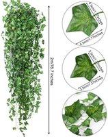 Feuille de lierre artificielle Vigne 2M Vert Feuilles suspendues Guirlande Faux Feuillage Fleurs Home Cuisine Jardin Bureau Mariage Mariage Decor BWD7453