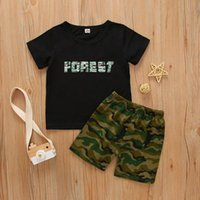 Clothing Sets Toddler Baby Boys Clothes Summer Short Sleeve Letter T-shirt Tops +Camouflage Leisur Tracksuit 6 12 18 24 Months