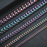 Chains Iced Out Hip Hop Cuban Curb Link Chain Mens Punk Jewelry Necklace Or Bracelet IRainbow Bracelets Jewelrys Gifts
