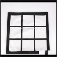 9 Panel Pillow Cover Blank Sublimation Pillow Case Black Grid Woven Polyester Heat Transfer Cushion Cover Throw Sofa Pillowcases Fufws Snq5A