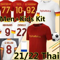 21/22 Totti Soccer Jersey Zaniolo Roma Abraham Pedro Pastore Rome Kluivert Kolarov 2021 2022 Мужчины + детский комплект Футбольная рубашка Униформа
