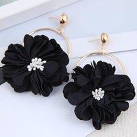 Dangle & Chandelier YADA 2021 Wholesale Korean Geometric Flowers Earring Crystal Statement Cloth Flower For Women Jewelry Earrings ER210004