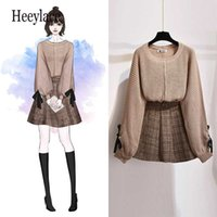 women 2 piece set knitted tops and skirt set korean style student casual two piece outfits fall winter set clothing 2021 p0810