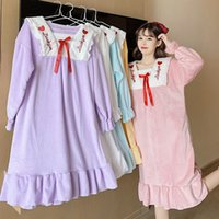 Flannel nightdress women autumn and winter new Sleepwear pure color Korean version of loose sweet lovely princess style pajamas for women's home