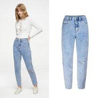 Jeans de cintura alta clássica namorado vintage para mulheres rasgadas denim